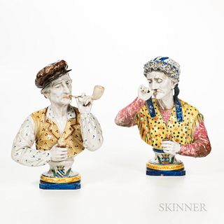 Two Faience Pottery Character Busts, France, 19th century, each polychrome enameled, one depicting a man smoking a pipe; the other a fe