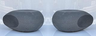 Pair of Pebble Outdoor Stool/Tables by 2Design Studio
