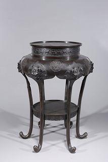 Antique Japanese Bronze Pedestal