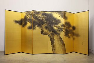 Antique Japanese Six-Panel Painted Screen