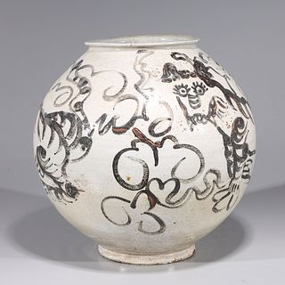 Korean Glazed Ceramic Tiger Jar