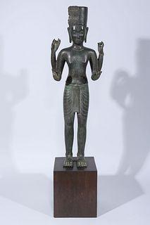 Antique Cambodian Khmer Style Bronze Figure