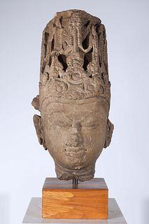 8th - 9th C. Sandstone Head of Vishnu