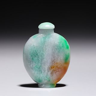 Brightly Colored Chinese Jadeite Snuff Bottle