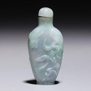 Antique Chinese Carved Jadeite Snuff Bottle
