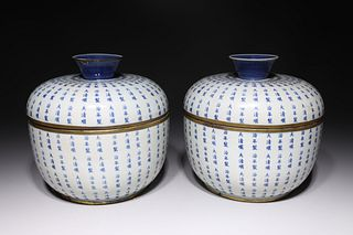 Pair of Chinese Blue & White Porcelain Covered Vessels