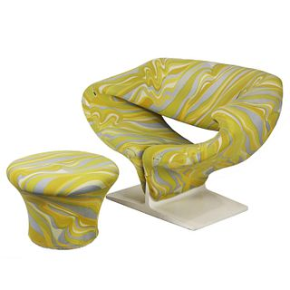 Pierre Paulin, Ribbon chair and ottoman for Artifort