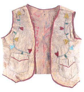 Crow Parfleche Beaded Child's Vest c. 1890