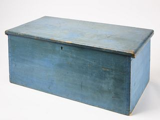 Dovetailed Blanket Box in Blue Paint