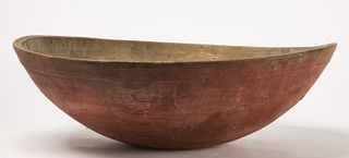 Large Early Turned bowl in Salmon Paint