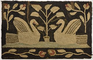 Hooked Rug with Swans