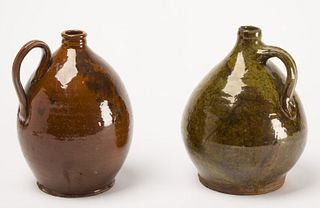 Two Good Early Redware Jugs