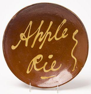 Redware Apple Pie Plate