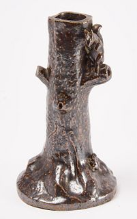 Sewer Tile Tree Stump Vase w/ Squirrel and Plate