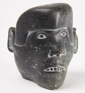 Eskimo Folk Art Carved Stone Head