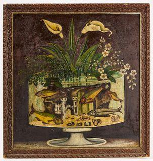 Interesting Folk Art Fish in a Fishbowl Still Life