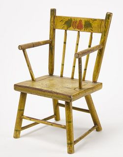 Paint Decorated Child's Armchair