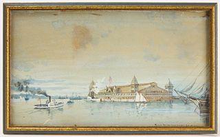 Ellis Island Watercolor 1892