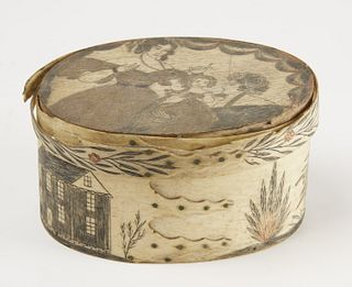 Fine Early Scrimshaw Decorated Box
