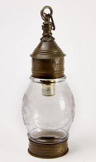 Etched Oil Lamp with Ship