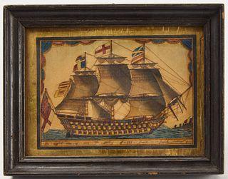 English Man of War Watercolor - 1809