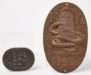 Ship Cookie Mold and Cast Iron Fire Assoc. Plaque