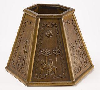Folk Art Carved Lamp Shade