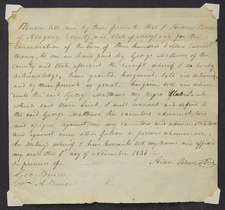 1836 Slave Bill of Sale - Andrew Bruce, Maryland