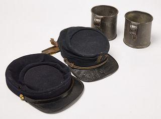 Lot 2 Early Civil War Caps & 2 Tin Cups