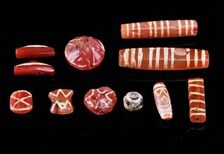 Rare Ancient Etched Carnelian Beads