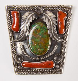 Large Navajo Silver Turquoise and Coral Bolo