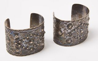 Pair of Silver Navajo Cuff Bracelets with Repousee