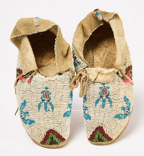 Pair of Pictorial Beaded Moccasins
