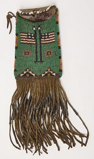 Native American Beadwork Bag with Flags