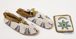 Pair Beaded Moccasins and Pouch