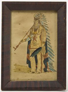 Folk Art Watercolor of an Indian Chief