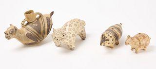 Four Pueblo Pottery Figures