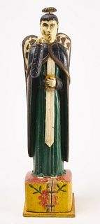 Wood Carved and Painted Religious Figure