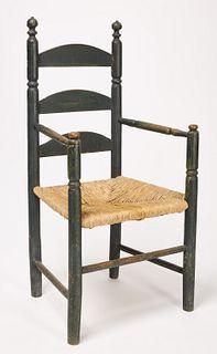 Early Ladderback Arm Chair - Original Green Paint