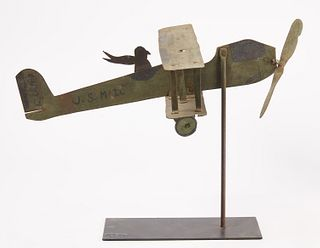 Bi-Wing Airplane Weathervane