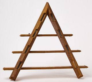Tramp Art Triangular Shelf