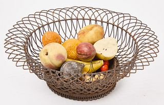 Wire Basket with Alabaster Fruit