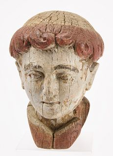 Carved Wood Monk's Head