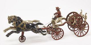 Cast Iron Horse Drawn Hose Wagon