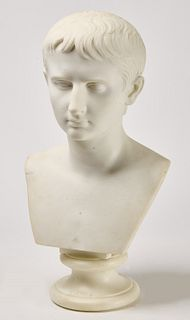 Fine Carved Marble Bust of Octavian