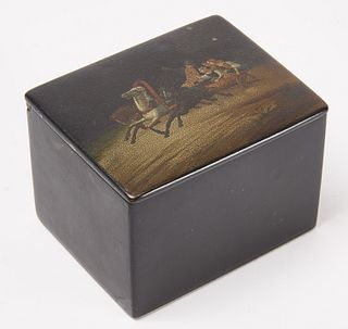 Russian Lacquer Tea Box with Painted Scene