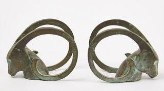 Art Deco Bronze Rams Heads