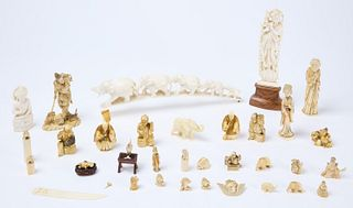 Large Group Asian Bone Carvings