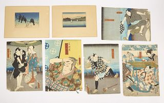 Lot of Antique Japanese Woodblock Prints
