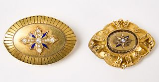 Two 14K Victorian Pins